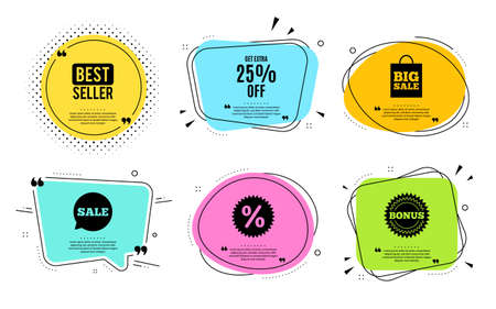 Get Extra 25% off Sale. Best seller, quote text. Discount offer price sign. Special offer symbol. Save 25 percentages. Quotation bubble. Banner badge, texting quote boxes. Extra discount text. Vector Stock Illustratie