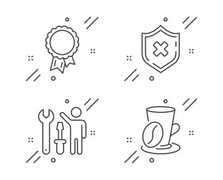 Repairman, Reject protection and Success line icons set. Coffee cup sign. Repair screwdriver, No security, Award reward. Latte drink. Line repairman outline icon. Vector Ilustrace
