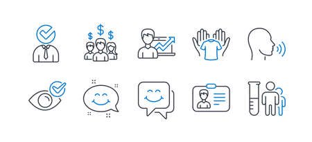 Set of People icons, such as Human sing, Hold t-shirt, Vacancy, Success business, Salary employees, Check eye, Smile chat, Smile face, Identification card, Medical analyzes line icons. Vector