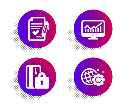 Approved agreement, Blocked card and Statistics icons simple set. Halftone dots button. Seo gear sign. Signature document, Private money, Financial report. Web settings. Business set. Vector Foto de archivo - 129173930