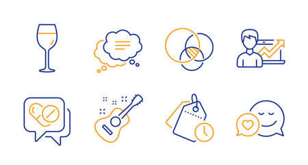 Wine glass, Success business and Medical drugs line icons set. Euler diagram, Guitar and Time management signs. Text message, Dating symbols. Bordeaux glass, Growth chart. Business set. Vector