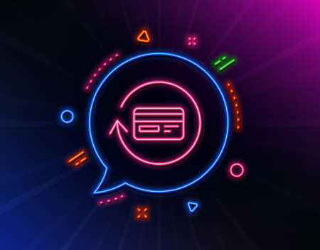 Credit card line icon. Neon laser lights. Banking Payment card sign. Cashback service symbol. Glow laser speech bubble. Neon lights chat bubble. Banner badge with refund commission icon. Vector Foto de archivo - 129173932