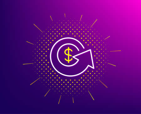 Dollar exchange line icon. Halftone pattern. Money refund sign. Cashback symbol. Gradient background. Dollar exchange line icon. Yellow halftone pattern. Vector Ilustrace