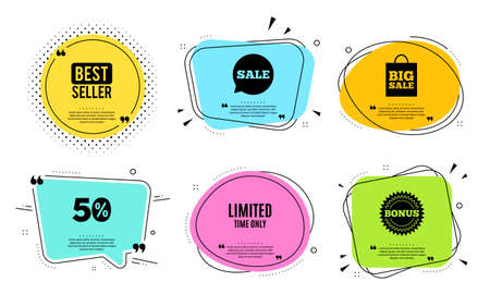 Limited time symbol. Best seller, quote text. Special offer sign. Sale. Quotation bubble. Banner badge, texting quote boxes. Limited time text. Coupon offer. Vector