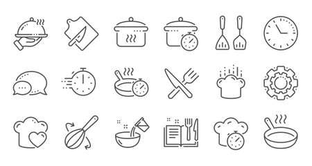 Iconos de línea de cocina. Tiempo de ebullición, Sartén y Utensilios de cocina. Iconos de línea de tenedor, cuchara y cuchillo. Libro de recetas, gorro de cocinero y tabla de cortar. Conjunto lineal. Conjunto de líneas de calidad. Vector Ilustración de vector