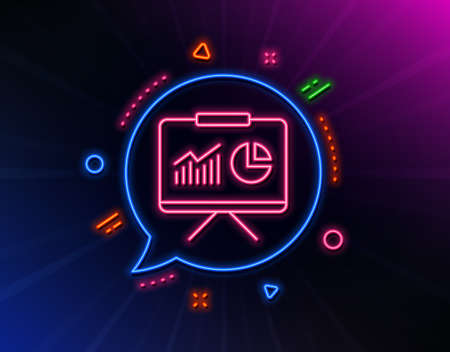 Presentation board line icon. Neon laser lights. Report chart or Sales growth sign. Analysis and Statistics data symbol. Glow laser speech bubble. Neon lights chat bubble. Vector