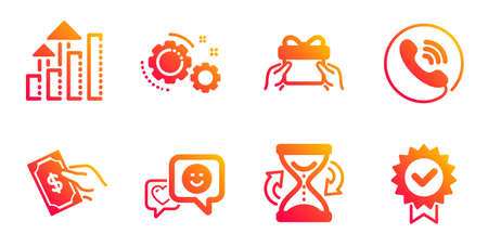 Hourglass, Analysis graph and Smile line icons set. Call center, Give present and Pay money signs. Gears, Certificate symbols. Sand watch, Targeting chart. Business set. Vector Stock Illustratie