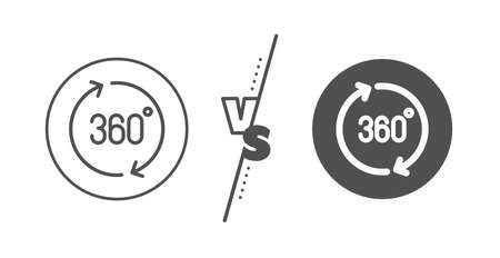 VR simulation sign. Versus concept. 360 degrees line icon. Panoramic view symbol. Line vs classic 360 degrees icon. Vector 版權商用圖片 - 129173949