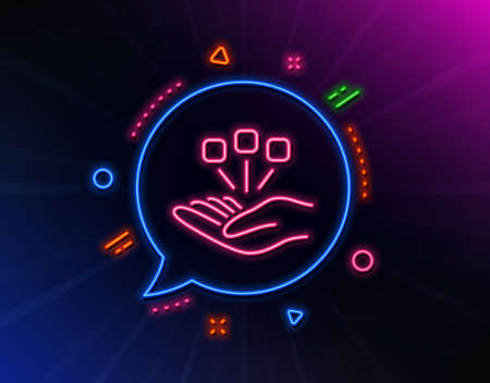 Consolidation line icon. Neon laser lights. Business strategy sign. Glow laser speech bubble. Neon lights chat bubble. Banner badge with consolidation icon. Vector