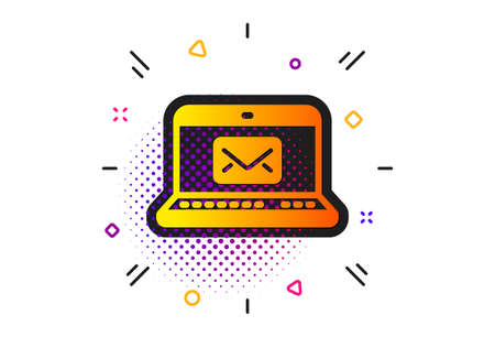 Message correspondence sign. Halftone circles pattern. E-Mail icon. Communication symbol. Classic flat e-Mail icon. Vector Иллюстрация