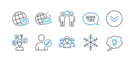 Set of Business icons, such as Friends couple, World mail, Quickstart guide, Snowflake, Scroll down, Group, Quiz test, World brand, Edit user, Energy line icons. Friendship, Chat. Vector