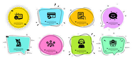 Support, Change card and Document line icons set. Chat bubbles with quotes. Smile, Smile chat and Safe time signs. Microscope, Correct answer symbols. Call center, Payment method. Vector