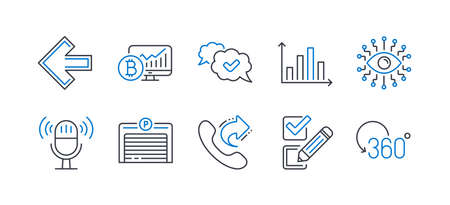 Set of Technology icons, such as Artificial intelligence, Share call, Approved, Left arrow, Parking garage, Microphone, Diagram graph, Checkbox, Bitcoin chart, Full rotation line icons. Vector Ilustrace