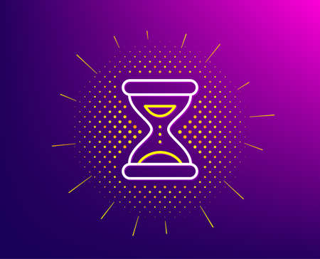 Hourglass time line icon. Halftone pattern. Clock sand sign. Watch symbol. Gradient background. Time line icon. Yellow halftone pattern. Vector Ilustrace