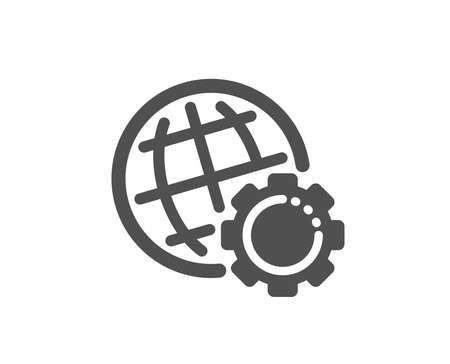 World or Earth sign. Globe icon. Global Internet symbol. Classic flat style. Simple globe icon. Vector Banque d'images - 129173962