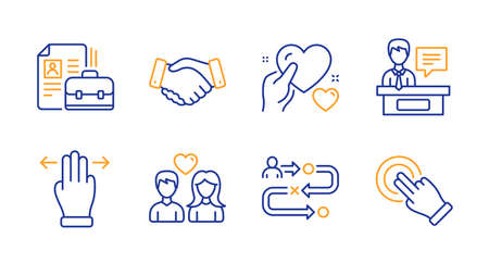 Exhibitors, Vacancy and Journey path line icons set. Multitasking gesture, Employees handshake and Couple love signs. Hold heart, Touchscreen gesture symbols. Information desk, Hiring job. Vector