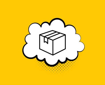 Shipping box line icon. Comic speech bubble. Logistics delivery sign. Parcels tracking symbol. Yellow background with chat bubble. Parcel icon. Colorful banner. Vector Ilustrace