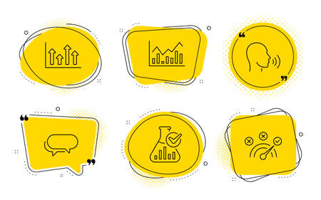 Human sing, Chemistry lab and Correct answer signs. Chat bubbles. Upper arrows, Infochart and Messenger line icons set. Growth infochart, Stock exchange, Speech bubble. Talk. Education set. Vector