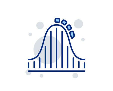 Roller coaster line icon. Amusement park sign. Carousels symbol. Linear design sign. Colorful roller coaster icon. Vector 일러스트