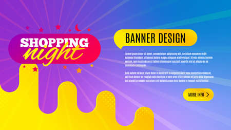 Shopping night badge. Discount banner shape. Hot offer icon. Abstract background design. Banner with offer badge. Vector