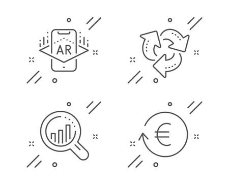 Augmented reality, Seo analysis and Recycle line icons set. Exchange currency sign. Phone simulation, Targeting chart, Recycling waste. Reshresh exchange rate. Business set. Vector Illustration