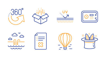 Safe box, Open box and Uv protection line icons set. 360 degrees, Air balloon and Swimming pool signs. Reject file, Hat-trick symbols. Deposit, Delivery package. Business set. Vector Standard-Bild - 129173971
