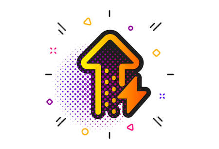 Thunderbolt sign. Halftone circles pattern. Energy icon. Power consumption symbol. Classic flat energy growing icon. Vector 矢量图像