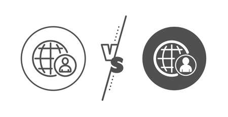 Global human resources sign. Versus concept. International business recruitment line icon. Line vs classic international recruitment icon. Vector Иллюстрация