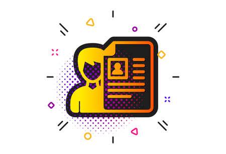 CV documents or Portfolio sign. Halftone circles pattern. Business recruitment icon. Classic flat job interview icon. Vector Ilustração