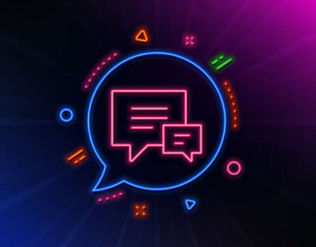 Chat line icon. Neon laser lights. Speech bubble sign. Communication or Comment symbol. Glow laser speech bubble. Neon lights chat bubble. Banner badge with comment icon. Vector Ilustrace