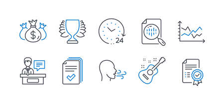 Set of Education icons, such as Check investment, Analytics chart, Guitar, 24 hours, Breathing exercise, Exhibitors, Diagram chart, Winner, Handout, Certificate line icons. Vector