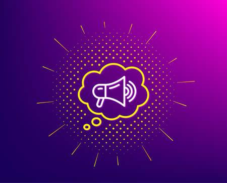 Megaphone line icon. Halftone pattern. Advertisement device symbol. Brand ambassador speech bubble sign. Gradient background. Megaphone line icon. Yellow halftone pattern. Vector Illustration
