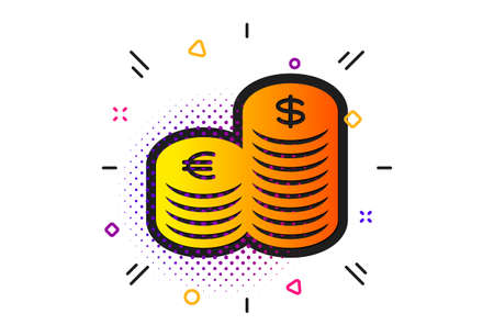 Banking currency sign. Halftone circles pattern. Coins money icon. Euro and Dollar Cash symbols. Classic flat currency icon. Vector