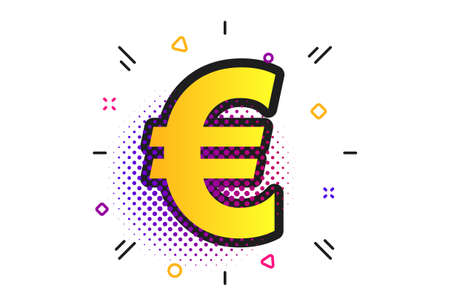 Euro sign icon. Halftone dots pattern. EUR currency symbol. Money label. Classic flat euro icon. Vector