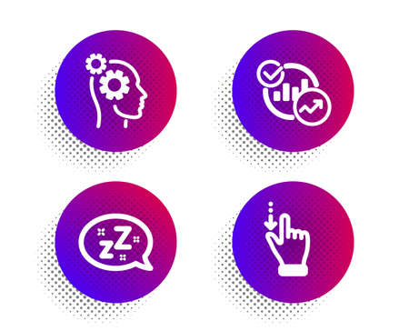 Statistics, Thoughts and Sleep icons simple set. Halftone dots button. Touchscreen gesture sign. Report charts, Business work, Zzz bubble. Slide down. Business set. Vector Illustration