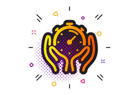 Time management sign. Halftone circles pattern. Timer icon. Stopwatch symbol. Classic flat timer icon. Vector Ilustrace