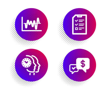 Time management, Stock analysis and Interview icons simple set. Halftone dots button. Payment received sign. Teamwork clock, Business trade, Checklist file. Money. Education set. Vector Ilustrace