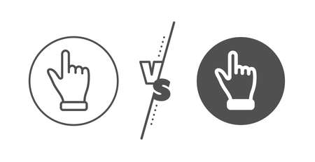 One finger palm sign. Versus concept. Click hand line icon. Direction gesture symbol. Line vs classic click hand icon. Vector Banque d'images - 129174002