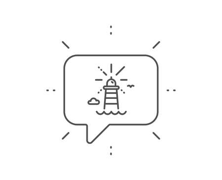 Lighthouse line icon. Chat bubble design. Beacon tower sign. Searchlight building symbol. Outline concept. Thin line lighthouse icon. Vector