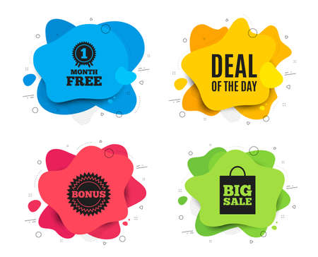 Deal of the day symbol. Liquid shape, various colors. Special offer price sign. Advertising discounts symbol. Geometric vector banner. Day deal text. Gradient shape badge. Vector