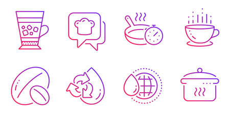 Frappe, Frying pan and Soy nut line icons set. Coffee cup, Cooking hat and World water signs. Recycle water, Boiling pan symbols. Cold drink, Cooking timer. Food and drink set. Vector Çizim