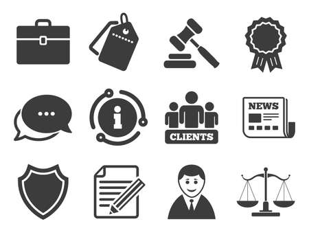 Clients, auction hammer and law judge symbols on white Stock Illustratie