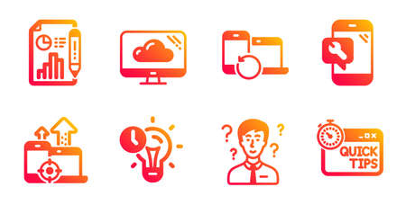 Support consultant, Report document and Recovery devices line icons set.  イラスト・ベクター素材