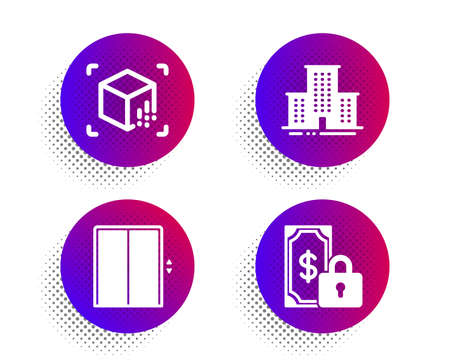 University campus, Augmented reality and Lift icons simple set.