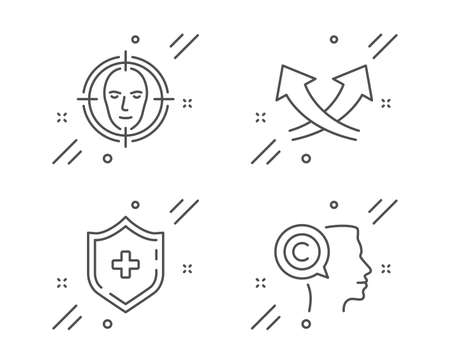 Intersection arrows, Medical shield and Face detect line icons set.