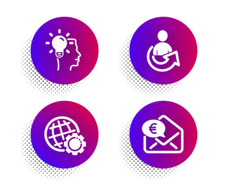 Idea, Globe and Share icons simple set. Halftone dots button on white