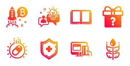 Medical shield, Idea and Online payment line icons set.