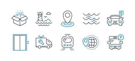 Conjunto de iconos de transporte en blanco
