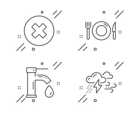 Food, Close button and Tap water line icons set on white