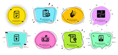 Jazz, Parcel checklist and Approved checklist line icons set